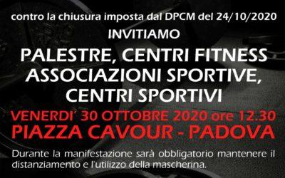 Manifestazione a sostegno dei centri fitness e palestre